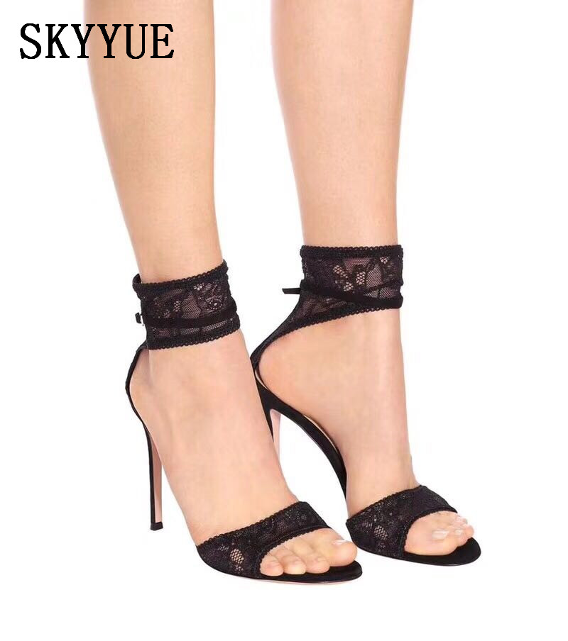 2018 New Genuine Leather Beige Lace Cutout Women HIgh Heel Sandals Sexy Open Toe Buckle Strap Women Summer Sandals Shoes Women summer open toe women suede buckle strap sandals comfortable thick heel party the new dress shoes pink beige black