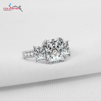 COLORFISH 3 0 Ct Large Three Stone Emerald Silver Ring Synthetic Diamond Engagement Ring Women 925