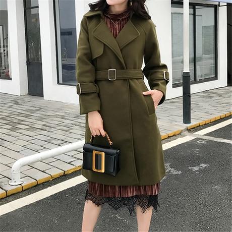2018 New Women Autumn Winter Outerwear Wool Blend Warm Long Coat Slim Fit Lapel Woolen Overcoat Cashmere Female Plus Size plus size wool blend lapel coat