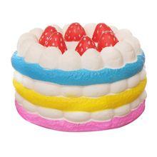 ABWE बेस्ट सेल Squishy रंगीन दौर स्ट्रॉबेरी केक धीमा बढ़ते निचोड़ खिलौने सजावटी प्रॉप्स