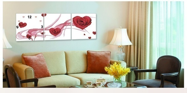 New wall clock cross stitch kits embroidery needlework sets triptych heart rose unfinished