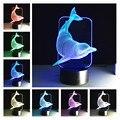 Shark led lámpara de Mesa de Control Táctil 3D Noche 7 Colores Cambian Abajur Lámpara de Mesa Luz del Escritorio DEL USB LED Banco de la Energía Luz de La Noche