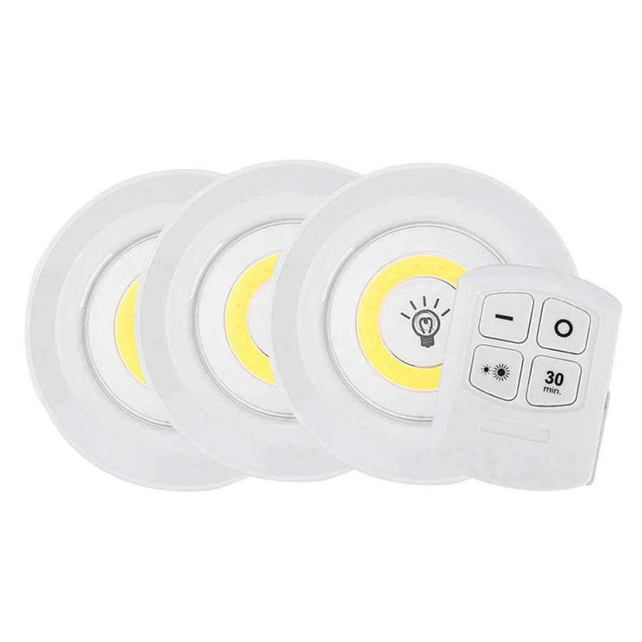 Battery Operated Dimmable LED Under Cabinet Light COB LED Puck Lights Closets Lights With Remote Control For Wardrobe Bathroom