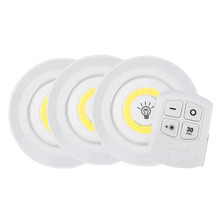 Battery Operated Dimmable LED Under Cabinet Light COB LED Puck Lights Closets Lights with Remote Control for Wardrobe Bathroom new dhl 50 pcs rechargeable lithium battery operated multicolors rgb led under table light with remote controller