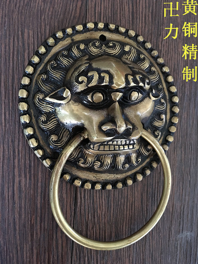 Antique lion head handle door handle Chinese kylin beast Head Knocker yellow bronze diameter 10.5cm 198mm diameters antique chinese lion head door handle knocker handle unicorn beast