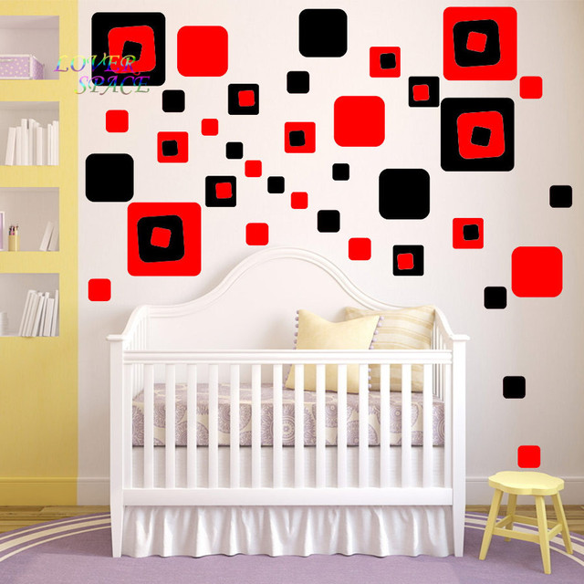 CREATIVE 36 RED BLACK SQUARE GEOMETRY GIRLS WALL DECAL STICKER BEDROOM VINYL NURSERY TEEN ABSTRACT WALL  sc 1 st  AliExpress.com : red and black wall decals - www.pureclipart.com