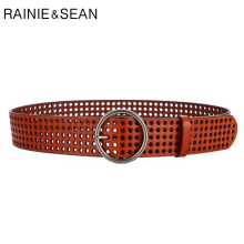 RAINIE SEAN Real Leather Ring Belt Women Cummerbunds Wide Pin Belts For Dresses Ladies Mesh Brown Cowhide Designer