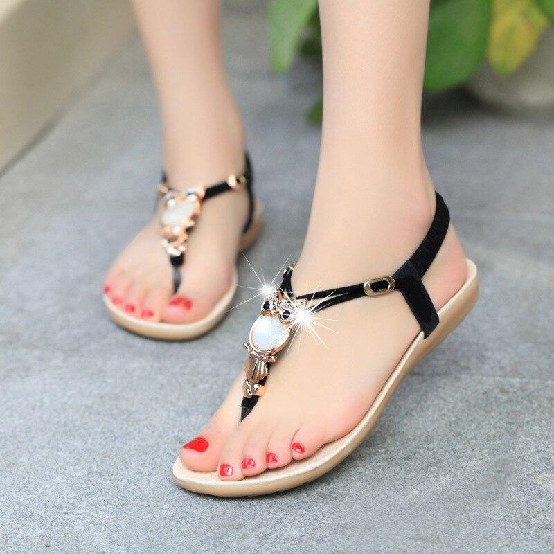 Новая Летняя обувь Женская мода плоской подошве Сандалии для девочек для отдыха в богемном стиле Женская пляжная Сланцы мягкие повседневные женские Сандалии для девочек обувь bt143