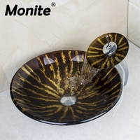 Black Round Washbasin Lavatory Tempered Glass Sink Chrome Waterfall Glass Basin Faucet Combine Brass Faucet Mixer