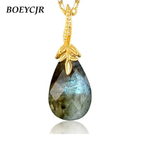 BOEYCJR 925 Sterling Silver Labradorite Necklace Chain Jewelry Energy Gemstone Pendant Necklace for Women Gift 2019