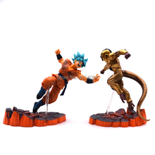 2 pcs/set Anime Dragon Ball Z> Action Figure  Golden Frieza VS Goku Battle Ver PVC Model Dragonball Super Saiyan Doll недорого