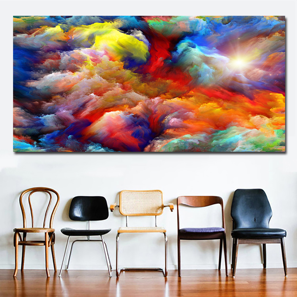 Modern Abstract Canvas Art Painting Colorful Clouds ...
