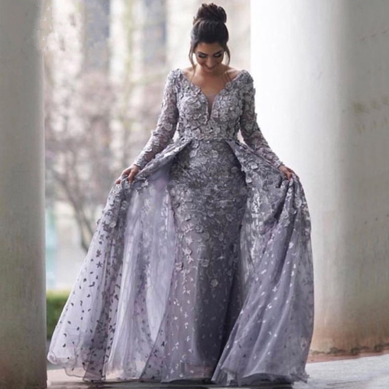 Lilac Muslim Evening Dresses 2019 Mermaid V-neck Long Sleeves Tulle Lace Islamic Dubai Saudi Arabic Long Prom Evening Gown