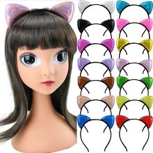 Cute cat animal ear headband sequins shiny hairband cartoon fashion women girls leopard headdress wedding party hair accessory