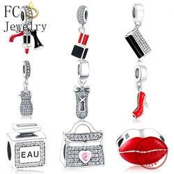 FC Jewelry Fit Original Pandora Charms Bracelet 925 Sterling Silver Dress Lip Lipstick High Heels Bag Perfume Cup Berloque DIY