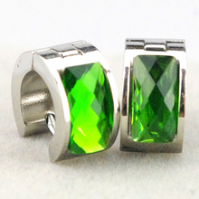 Green Round Crystal Rhinestone Hoop Earrings Promotion 316L stainless steel for Women Best Gift Simple Design HZE001B