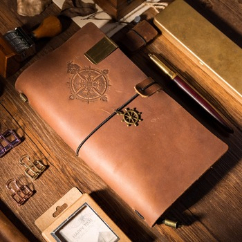 Vintage Genuine Leather Traveler's Notebook PIRATE style Diary Journal Handmade Cowhide gift travel notebook vintage leather notebook key design vintage cowhide paper retro straps diary doodle book notepads diary
