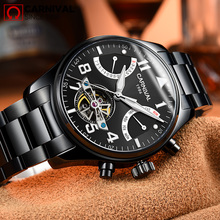 CARNIVAL Skeleton Matt Black Steel Mechanical Men Watch Fashion Waterproof Luminous Tourbillion Montre TopBrand Luxury relogio
