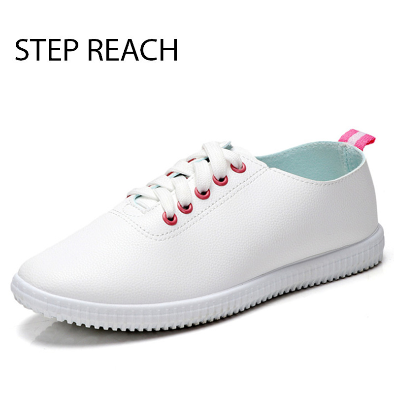 STEPREACH Brand shoes woman PU Casual Flats Outdoor comfortable lace-up set foot Women Loafers sapato feminino zapatos mujer real pic high color decorative rivets women casual shoes brand designer lace up comfortable women flats shoes woman