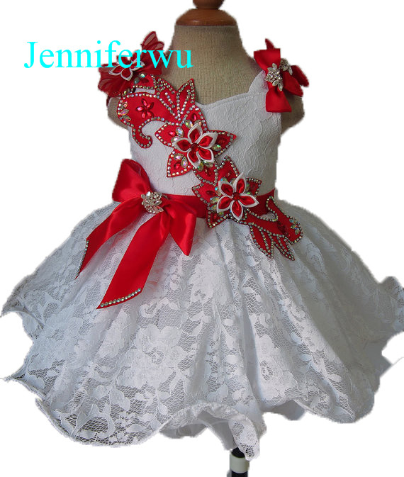 цена stunning rhinestone beaded infant and toddler girl pageant dress 1T-6T G079C онлайн в 2017 году