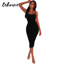Echoine Solid Color Sexy Spaghetti Straps O Neck Sleeveless Night Club Midi Dress Summer Fit Bodycon Party High Waist Dresses