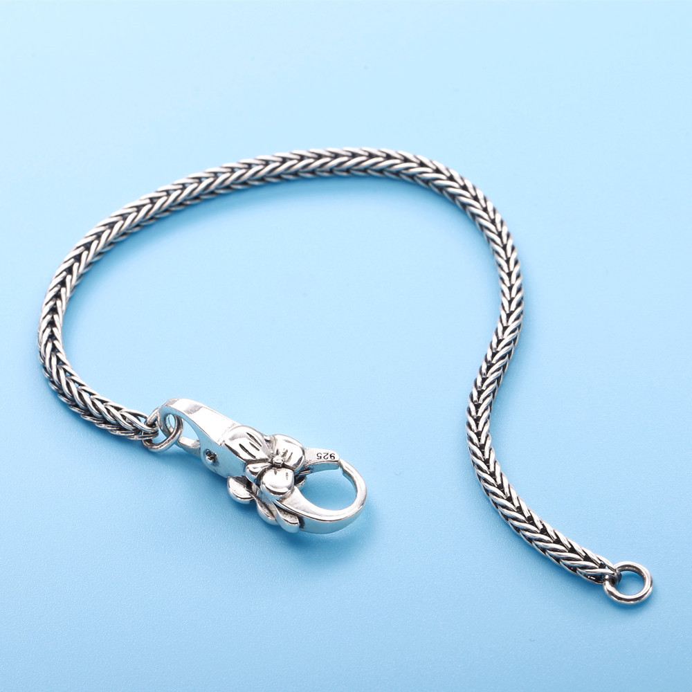 Image 3 - Moonmory Real 925 Sterling Silver Gray Bracelet Vintage Style For Unisex Europe Popular DIY Jewelry Plum Buckle Bracelet-in Chain & Link Bracelets from Jewelry & Accessories