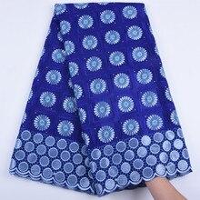 Tela de encaje de gasa Suiza azul real, alta calidad, africana, nigeriana, para ropa, A1682