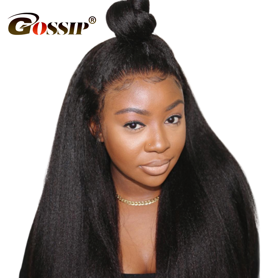 360 Lace Frontal Wig Kinky Straight Hair Wigs For Black Women 6 Inch Lace Front Human