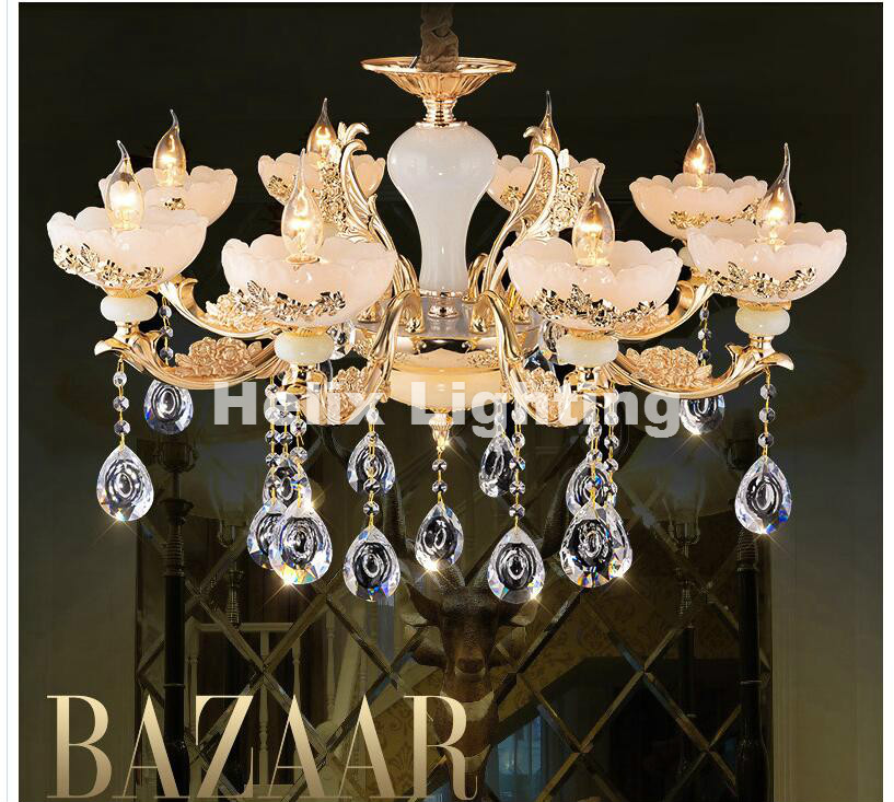 Free Shipping Zinc Alloy Modern LED Chandelier Lustre Jade Large K9 Gold E14 Crystal Chandeliers Living Room Lobby Hotel Lights k9 puppy gold