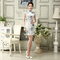 Woman Sexy Gorgeous New Silk Chinese Traditional Vintage Qipao Party Dresses Spring Short Slim Retro Women's Clothes