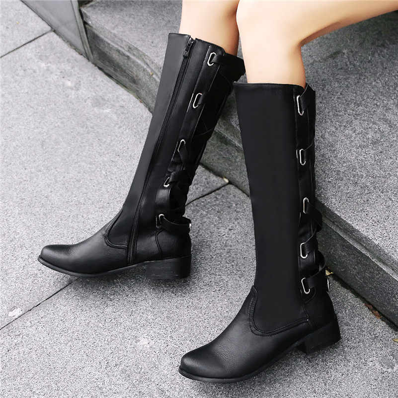 FEDONAS Yeni Varış Euro Tarzı Kadın Düz Çapraz bağlı Diz Üzerinde Çizmeler Sonbahar Kış Moda PU Deri parti ayakkabıları kadın