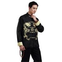 Black Chinese Men Silk Satin Embroidery Jacket Coat Vintage Dragon Totem Overcoat Hchaqueta Abrigo Size M