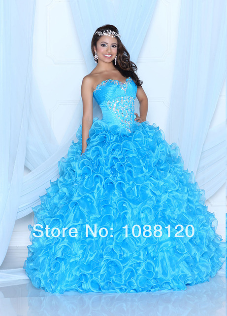 Puffy Quinceanera Dress Light Blue Ball Gown Ruffles Organza ...