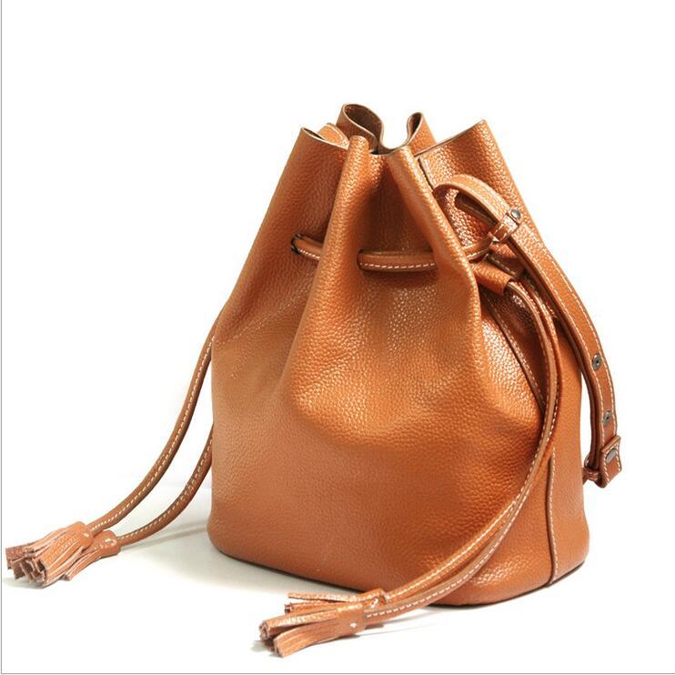 Leather bucket Women handbags leisure women bag Women's single shoulder bag сумка через плечо bucket bag euramerican women leather handbags dx091
