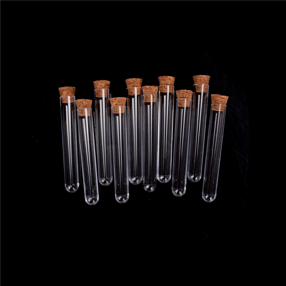 10pcs/lot 12x75/12x100/15x100/15x150mm Laboratory Plastic Test Tube With Cork Clear Lab Favor Gift Tube , Refillable Bottle
