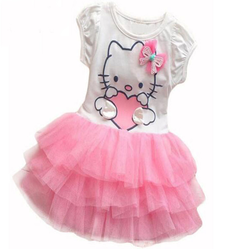 9901201434c18 Infant Baby Girls Cute Hello Kitty Cat Short Sleeve Tutu Dress With Bow  Kids Cotton Dresses Children Summer Clothing Vestidos-in Dresses from  Mother & ...