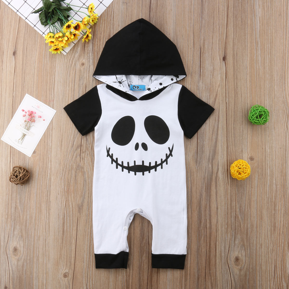 Newborn Halloween Costume Baby Clothes Ghost Print Girls&Boys Hooded Baby Rompers Jumpsuit Outfits Autumn New Born Baby Clothes