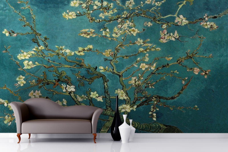 mural almond branches by van gogh wallpaper murals 3d. Black Bedroom Furniture Sets. Home Design Ideas