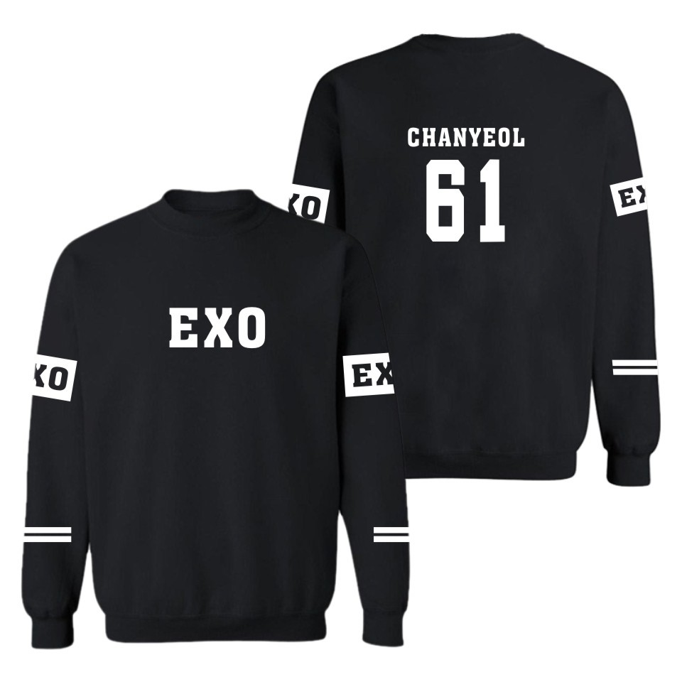 Kpop EXO Sweatshirt CHANYEOL XIUMIN sticker women Sweatshirts exo Pullovers harajuku hoodies casual Blouse Shirts