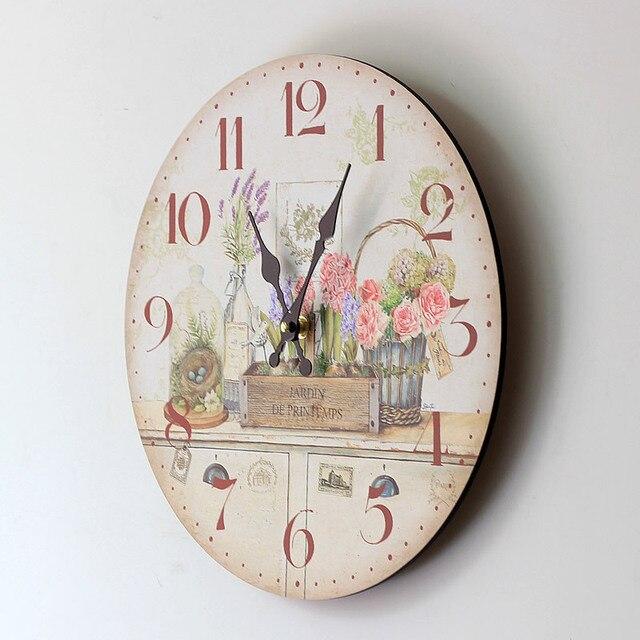 867f71ef44f US $20.06 30% OFF|Antique Style Jam Dinding Bunga Gambar Berwarna Kayu  Bulat Jam Dinding Menggantung Jam Kuarsa Ruang Tamu Rumah Dekorasi 35 cm di  ...