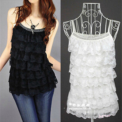 Hot Sale Women Summer Loose Casual Lace Sleeveless Vest Shirt Tops Blouse Ladies Top