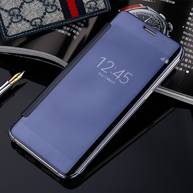Flip Case For Samsung Galaxy A3 2017 A320 A520 A720 Clear View Mirror Smart Cover For Samsung S8 S7 S7 Edge S6 Edge Leather Case