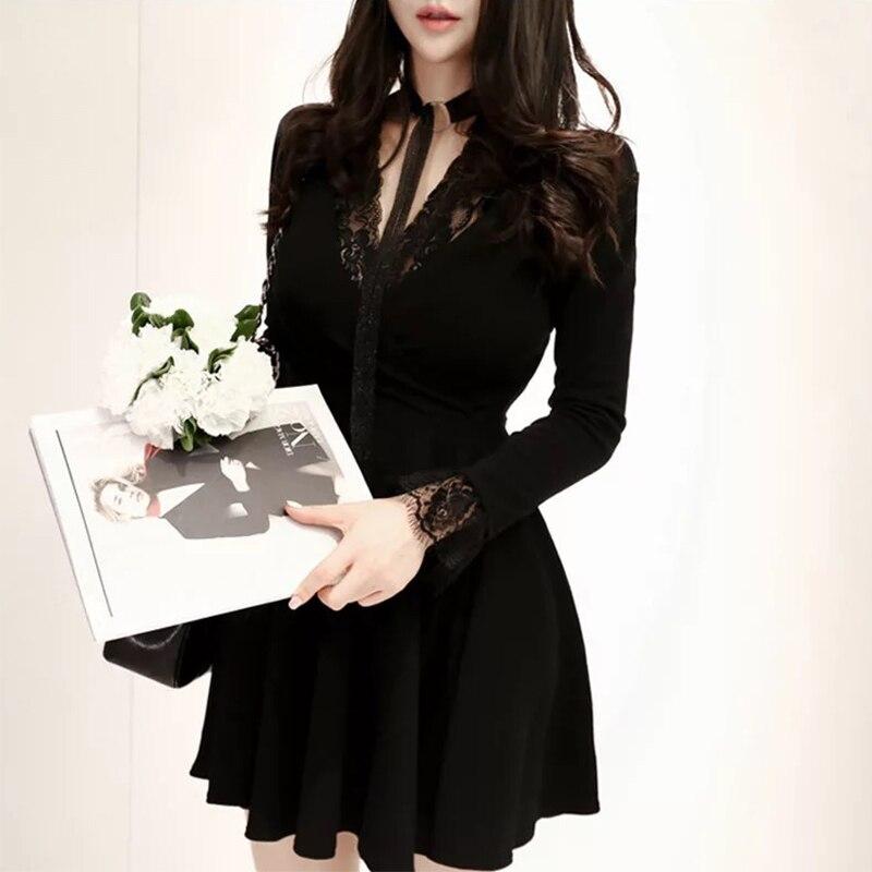 Mode femmes élégant confortable sexy dentelle robe noire nouveauté tempérament coréen grande taille haute qualité fête robe ligne