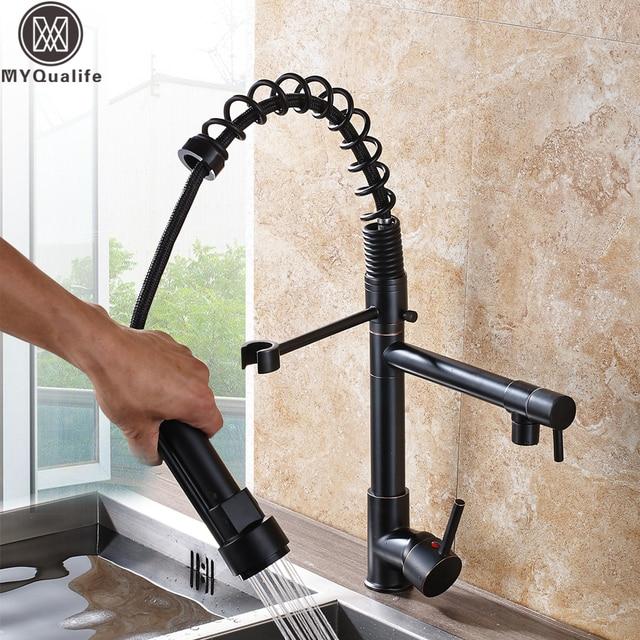 Schwarz Küche Waschbecken Wasserhahn Dual Swivel Auslauf Küche ...