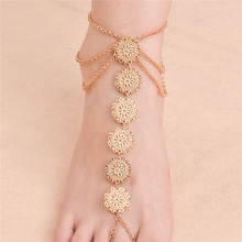 Ethnic Round Flower Coins Women's Anklet