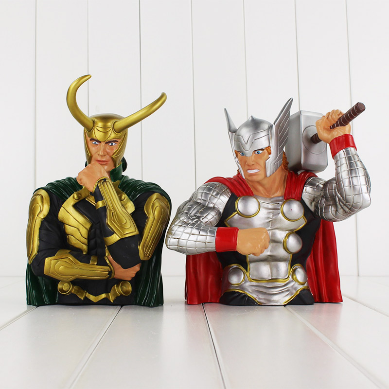 The Avengers Thor Loki Toy Piggy Bank PVC Action Figure Collection Model Toy Free shipping poptoys 1 6 soldier accessories the avengers loki loki windbreaker suit with cane for 12 action figure doll toys