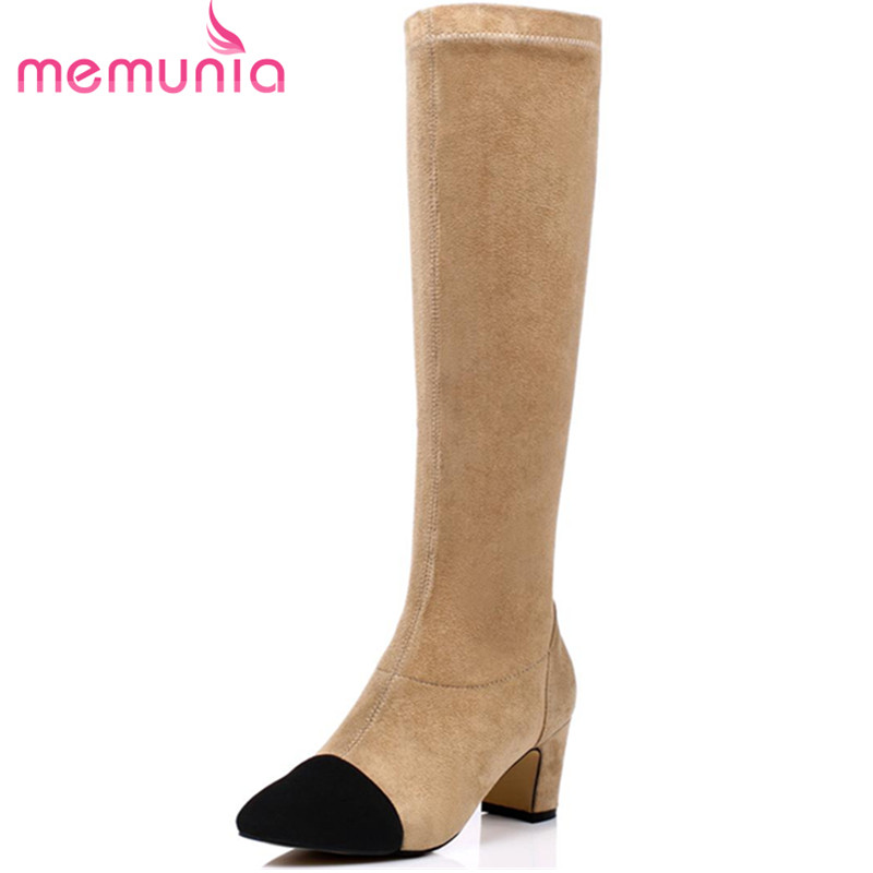MEMUNIA Pointed toe flock mixed colors mid calf boots for women large size 34-43 fashion party winter shoes high heels boots new 2017 spring summer women shoes pointed toe high quality brand fashion womens flats ladies plus size 41 sweet flock t179