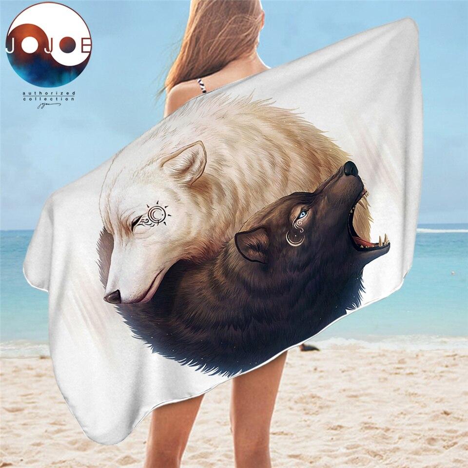 陰と陽オオカミによる JoJoesArt 浴室タオル大人のための黒、白マイクロファイバービーチタオル太極拳動物風呂ブランケット toalla -