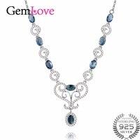 Gemlove 4ct الياقوت قلادة الأحجار الكريمة 925 الفضة الاسترليني بيان الأزرق إمرأة القلائد collares موهير 40% FN059