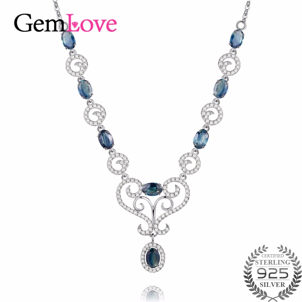 Gemlove 4ct Sapphire Necklace Gemstone 925 Sterling Silver